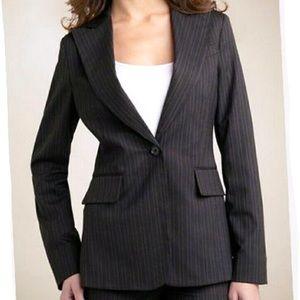 BCBG MaxAzria Wool Pinstriped Single Button Blazer